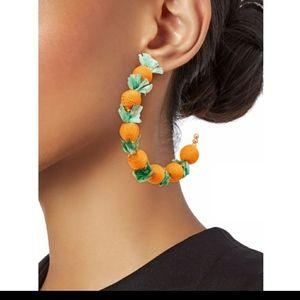 Kenneth Jay Lane Orange Gold Hoops Earring…